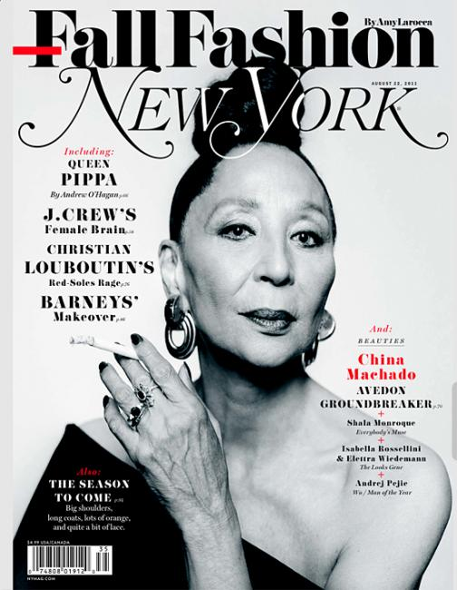 China Machado photographed by Brigitte Lacombe for the cover of New York magazine, August 2011